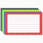 (6 Pk) Border Index Cards 3x5 Polka Dot Lined