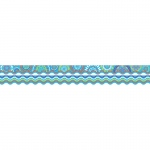 (6 Pk) Moroccan Turquoise Border Double Sided Scalloped Edge