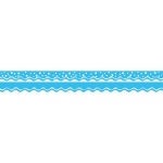 (6 Pk) Happy Pool Blu Border Double Sided Scalloped Edge