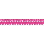 (6 Pk) Happy Hot Pink Border Double Sided Scalloped Edge