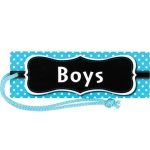 (12 Ea) Aqua Polka Dots Magnetic Boys Pass