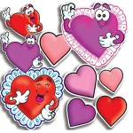 (6 Pk) Accent Punch-Outs Valentines Hearts