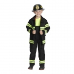 Black Firefighter Jacket & Bib Overalls W/ Suspenders Size 6-8