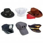 6 Pc Hat Fedora Police Chef Cowboy Train Engineer Airline Pilot