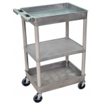 Luxor Top/Bottom Tub & Flat Middle Shelf Cart: Gray