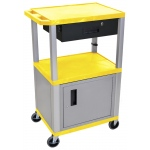 Luxor Tuffy Cart 3 Shelves Nickel Legs with Drawer and Cabinet: Yellow