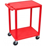 Luxor Utility Cart 2 Shelves Structural Foam Plastic: Red