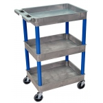 Luxor Tub Cart 3 Shelves: Gray Shelves with Blue Legs