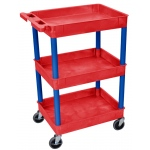 Luxor Tub Cart 3 Shelves: Red Shelves with Blue Legs