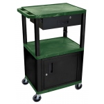 Luxor Tuffy Cart 3 Shelves Black Legs with Drawer and Cabinet: Hunter Green