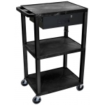Luxor Tuffy Cart 3 Shelves Black Legs with Drawer: Black