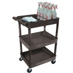Luxor Tub Cart with Bottle Holder 3 Shelve: Black