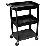 Luxor Top/Middle Tub & Flat Bottom Shelf Cart: Black