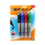 Bic Mark It Permanent 4/pk Chisel Tip Markers Asstd Colors