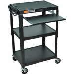 Luxor Adjustable Height Steel Cart with Pullout Keyboard Tray: Black