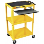 Luxor Adjustable Height Steel Cart with Pullout Keyboard Tray: Yellow