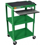 Luxor Adjustable Height Steel Cart with Pullout Keyboard Tray: Green