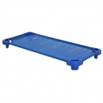 ECR4Kids Stackable Kiddie Cot: Standard, Ready to Assemble, Standard Blue