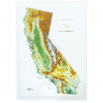 Hubbard Scientific Raised Relief Map: California State, Gold Frame