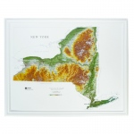 Hubbard Scientific Raised Relief Map: New York State, Oak Frame