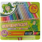 American Educational Supersticks Metallic Colored Pencil Tin Box Of 24