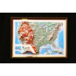 United States Map: A4, Decorative 3D Map With Panorama Effect