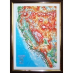 California State Map: A4, Decorative 3D Map With Panorama Effect