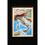 Italy Map: A4, Decorative 3D Map With Panorama Effect, Italian Language
