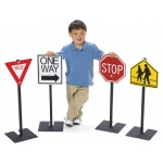 Traffic Signs: Yield, Stop, One Way & School Crossing