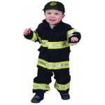 Aeromax Junior Fire Fighter Suit: Black, Size for 18 Month