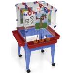 "ChildBrite Youth 4 Station Space Saver Easel with 9"" Deep Clear Tub"