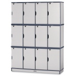 "Jonti-Craft 67"" High Stacking Lockable Locker: Black, Triple Stack"
