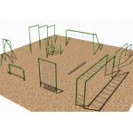SportsPlay 9 Unit Course with Horizontal Ladder: Galvanized - Playground Fitness Equipment