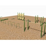 SportsPlay 9 Station Fitness Course: Galvanized - Playground Fitness Equipment