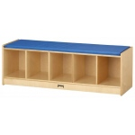Jonti-Craft Bench Locker: 5 Sections, Blue Cushion