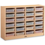 Jonti-Craft Maplewave 24 Paper-Tray Cubbie With Clear Paper-Trays