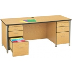 "Jonti-Craft Teachers Desk with 2 Pedestal: Black, 66"" L x 30"" D x 29"" H"