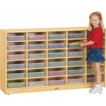 Jonti-Craft 30 Paper Tray Cubbie with Clear Paper Trays
