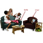 Brand New World School Age Vinyl Furniture: Port Burgundy Sofa, For Ages 6 Years & Up