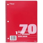 Notebook Spiral Single Subject 70ct 10 1/2 X 8 Assorted Colors