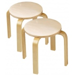 Anatex Wooden Sitting Stool: Set of 2