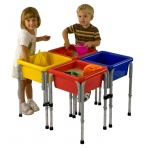 Early Childhood 4 Station Square Sand & Water Play Table with Lids