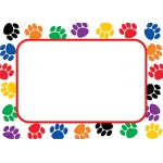 Colorful Paw Prints Name Tags Labels