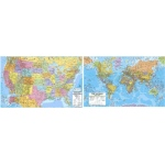 Us & World Adv Politcal Map Set Rolled 46x36