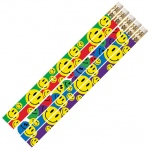 Happy Face Asst 12pk Motivational Fun Pencils