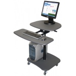 Luxor Adjustable Height Computer Mobile Workstation: Gray