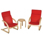 Early Childhood 3 Pieces Comfort Chairs and Table Set: Red