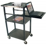 Luxor 3 Shelf Desktop Or Laptop Multi-Media Workstation: Black