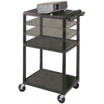 "Luxor Multi Height LP Cart: Black, 24"" x 32"" Shelves"