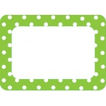 Lime Polka Dots 2 Name Tags Labels